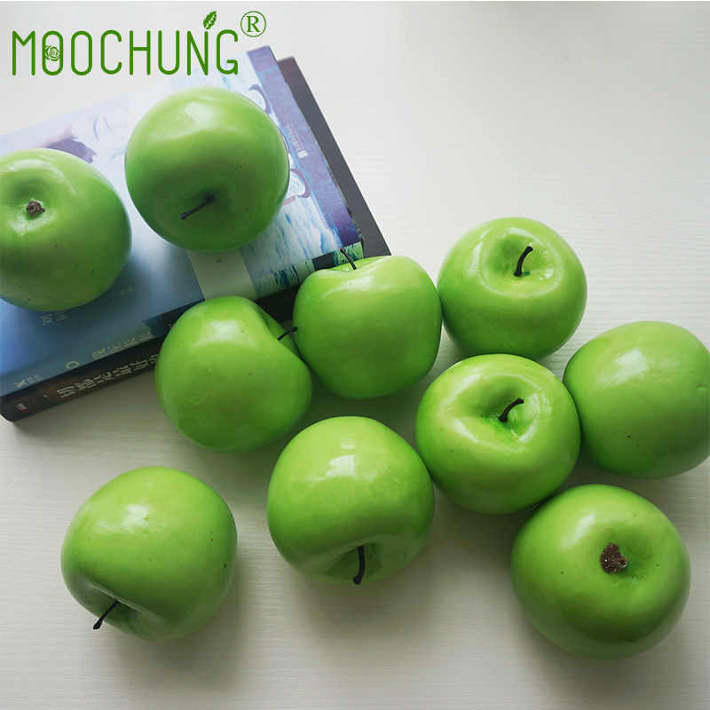 MOOCHUNG Fake Green Apples Artificial Plastic Apple kitchen Decorations  Party Home Wedding Decor Teaching Toys 8.5*8CM