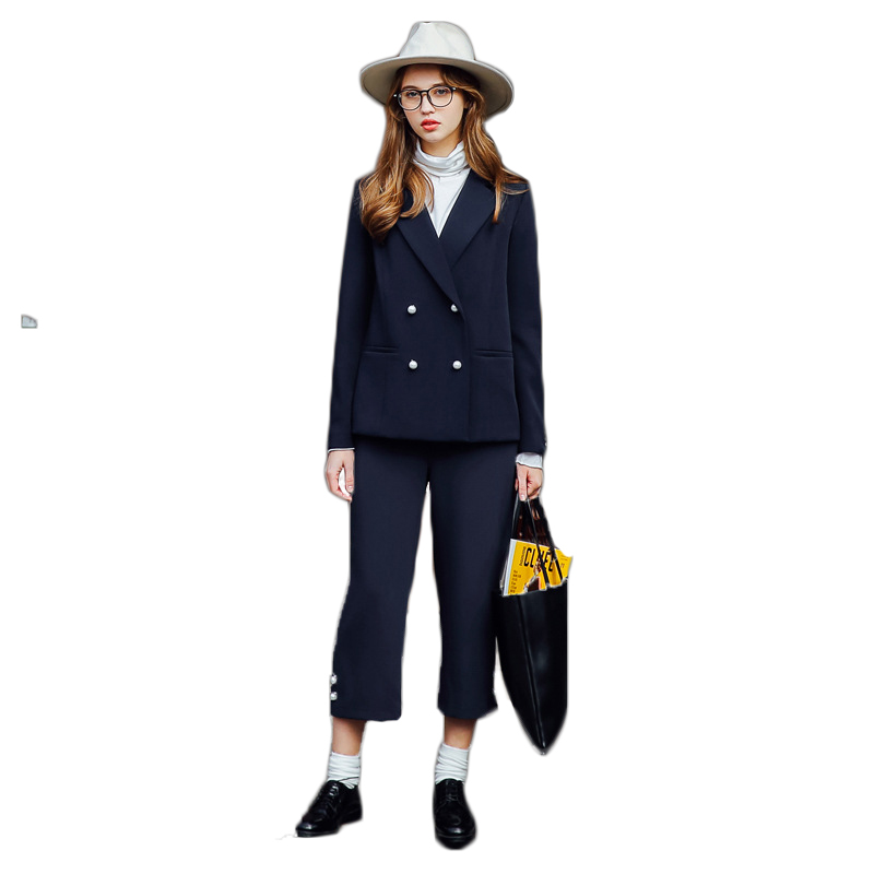 Moffi European Station Womens Trouser Suit Dark Blue OL Temperament Fashion Pantsuit With Notched Collar Office Unifrom Set