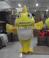 2017 желтый костюм талисмана рыбы взрослый костюм персонажа Косплей костюм талисмана
