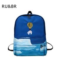 RU & BR Nieuwste Ontwerp Rugzak Ballon Dier Borduren Rugzak Schooltassen Voor Tienermeisjes 3D Landschap Afdrukken Rugzak