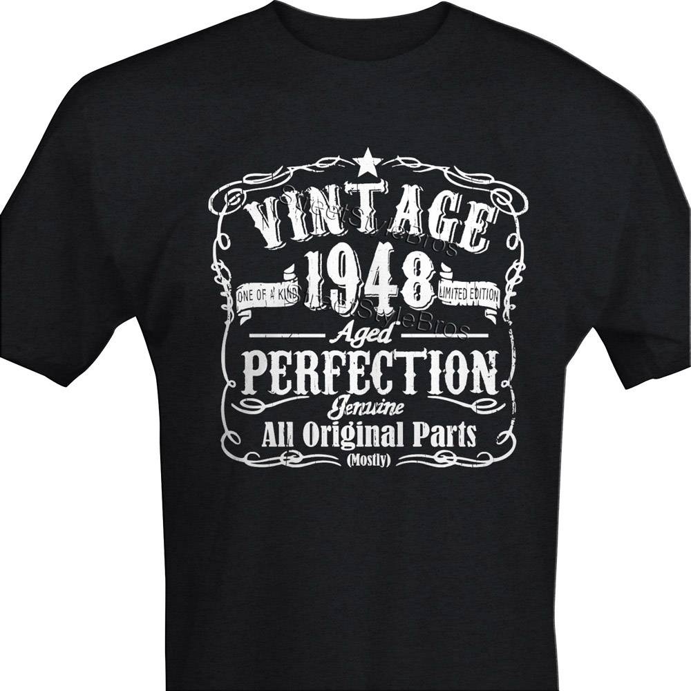 2019 Fashion Hot Sale VINTAGE 1948 Mens 70th <font><b>Birthday</b></font> T-<font><b>shirt</b></font> Unisex <font><b>70</b></font> Years Gift Present Dad Grandad Tee <font><b>shirt</b></font> image