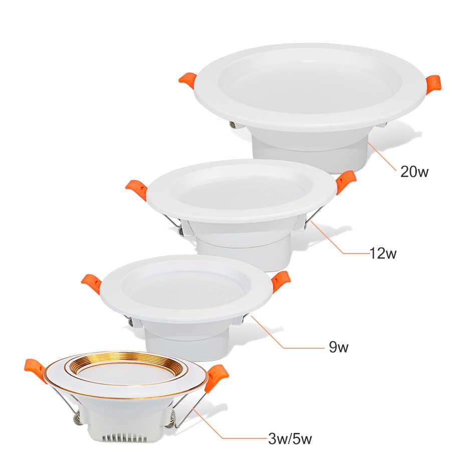 Светодиодный светильник 3 Вт 5 Вт 220 В светодиодный встраиваемый потолочный Точечный светильник 9 Вт 12 Вт 20 Вт панель вниз свет круглый светодиодный свет Холодный/теплый белый 3 цвета