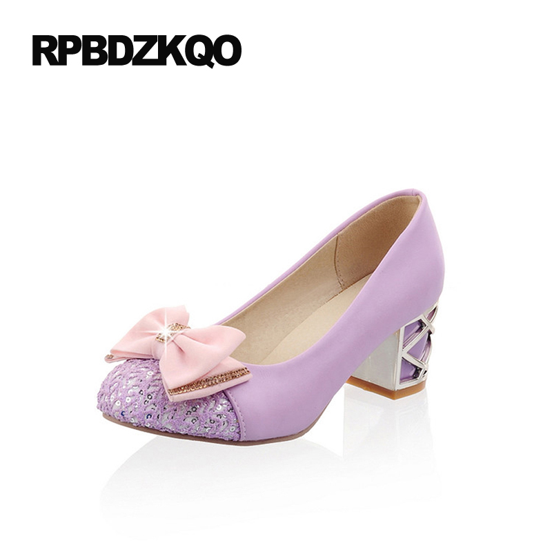 Medium Round Toe Ladies Size 4 34 Pink Crystal Shoes Thick High Heels Glitter Sequin 11 43 Lilac Rhinestone 10 42 Big Cute Bow чехол для samsung galaxy a7 2016 sm a710f clear view cover черный