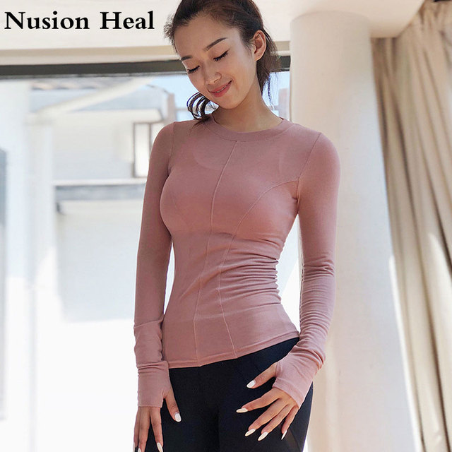 c6d359ae8fdb59 Crop Top Yoga Shirts for Women Seamless Long Sleeve Workout Tops Gym Yoga  Shirts with Thumb Hole Fitness Crop Top Camisas Mujer