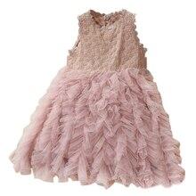 Платье для маленьких девочек кружевное платье-пачка принцессы с цветочным узором и поясом; летнее платье без рукавов; детская одежда; розовое платье для девочек на день рождения