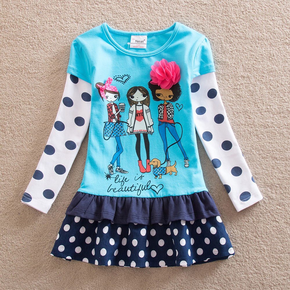 2018 new girl long sleeve dress print pattern flower leisure 100 cotton wave point girl children 39 s clothing LH6495 in Dresses from Mother amp Kids