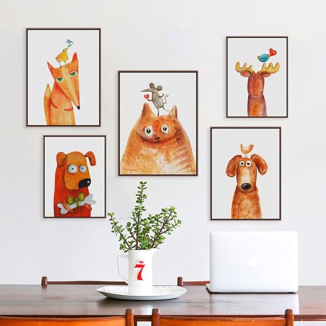 Kawaii Animal Dog Fox Deer Canvas Big Art Print Poster Wall Picture Kid Baby Room Decor Painting No Frame