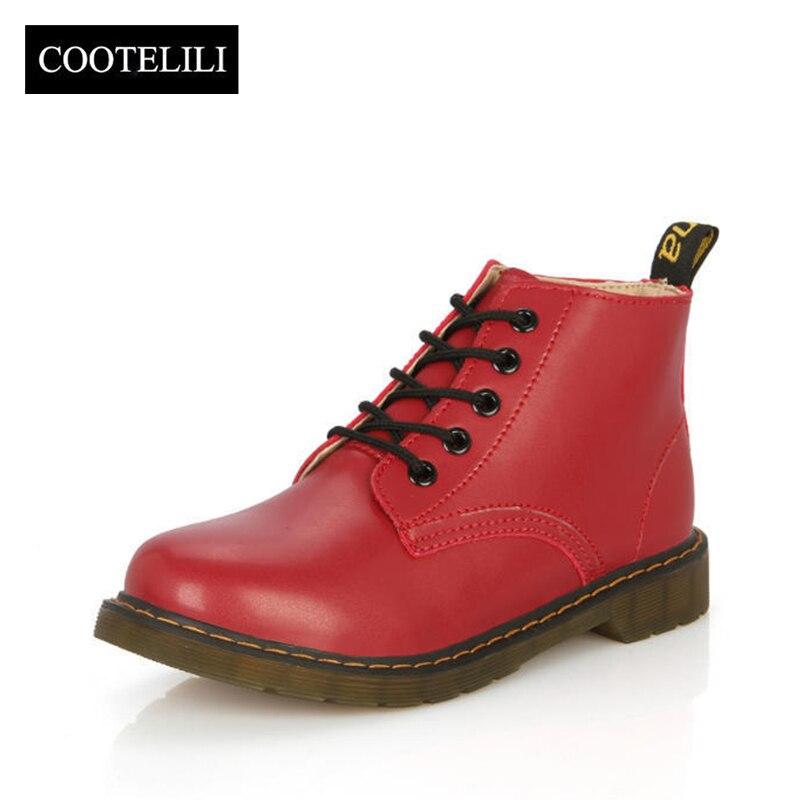 COOTELILI Ankle-Boots Botas Women Flats Lace-Up Casual-Shoes British-Style Autumn Plus-Size