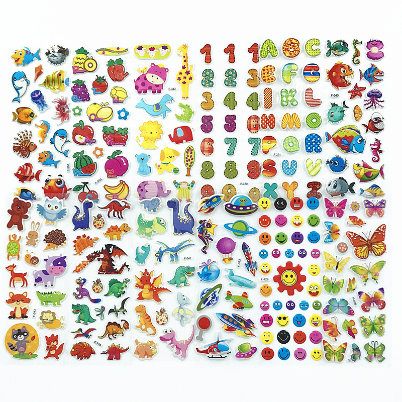 HBGS 10 Pack Self Adhesive 3D Puffy Stickers Animals Cars Cartoon Princess Boy Girl Gift School Teacher Reward Scrapbooking Toy