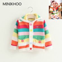 MINIKHOO 2017 Spring and Autumn Women Cartoon Colourful Wool Sweater Hooded for Woman