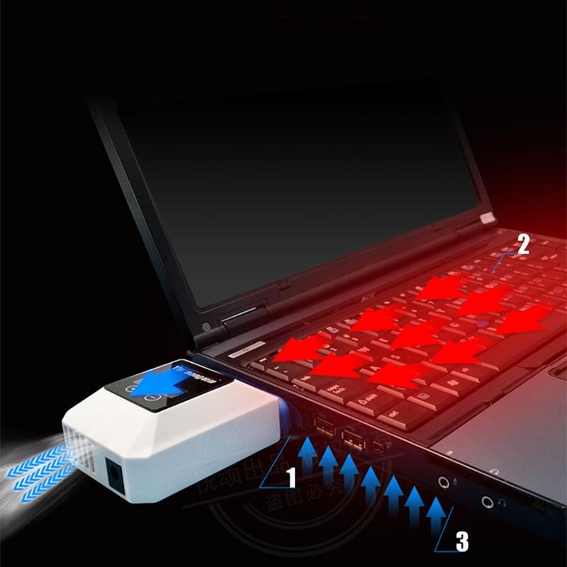 V5 mini vácuo usb portátil cooler lcd ar turbo externo extração rápida ventilador de refrigeração para ventilador para 14 15.6 Polegada notebook