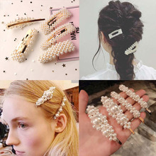 Fashion Pearl Hair Clip for Women Girl Elegant Korean Design Snap Barrette Stick Hairpin Hair Styling Accessories