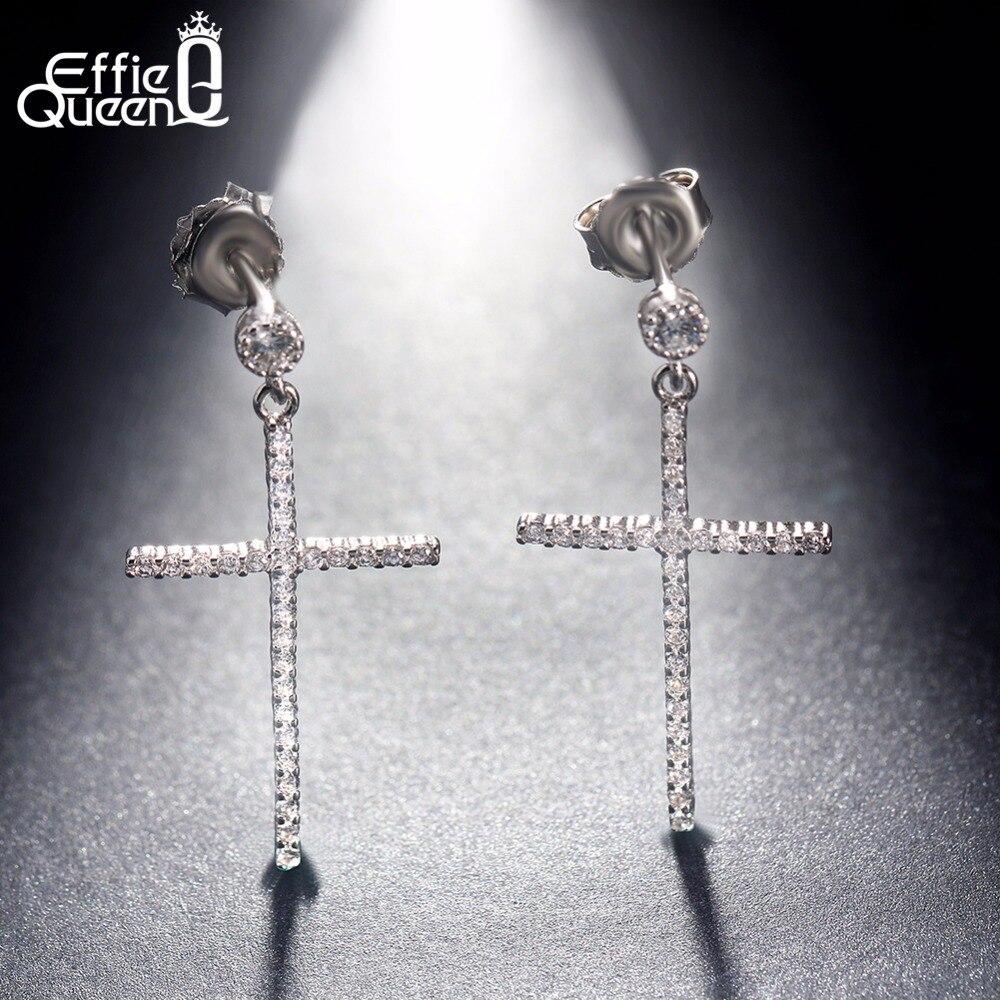 Effie Reine Nouvelle Arrivée Vintage En Cristal Clair Croix Boucles D'oreilles pour les Femmes 925 Sterling Argent Grand Longue Boucles D'oreilles Bijoux BE36