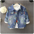 Children Denim jean Coat 2016 Autumn Winter Fashion floral Baby Girl Clothes Printing Kid Jacket Long Sleeve Outerwear 2-7T