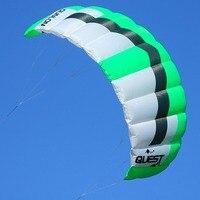 Зеленый 3 кв. м Открытый спортивный трюк кайт двойная линия тяги силовой кайт Parafoil Kiteboarding тренер Кайт для начинающих