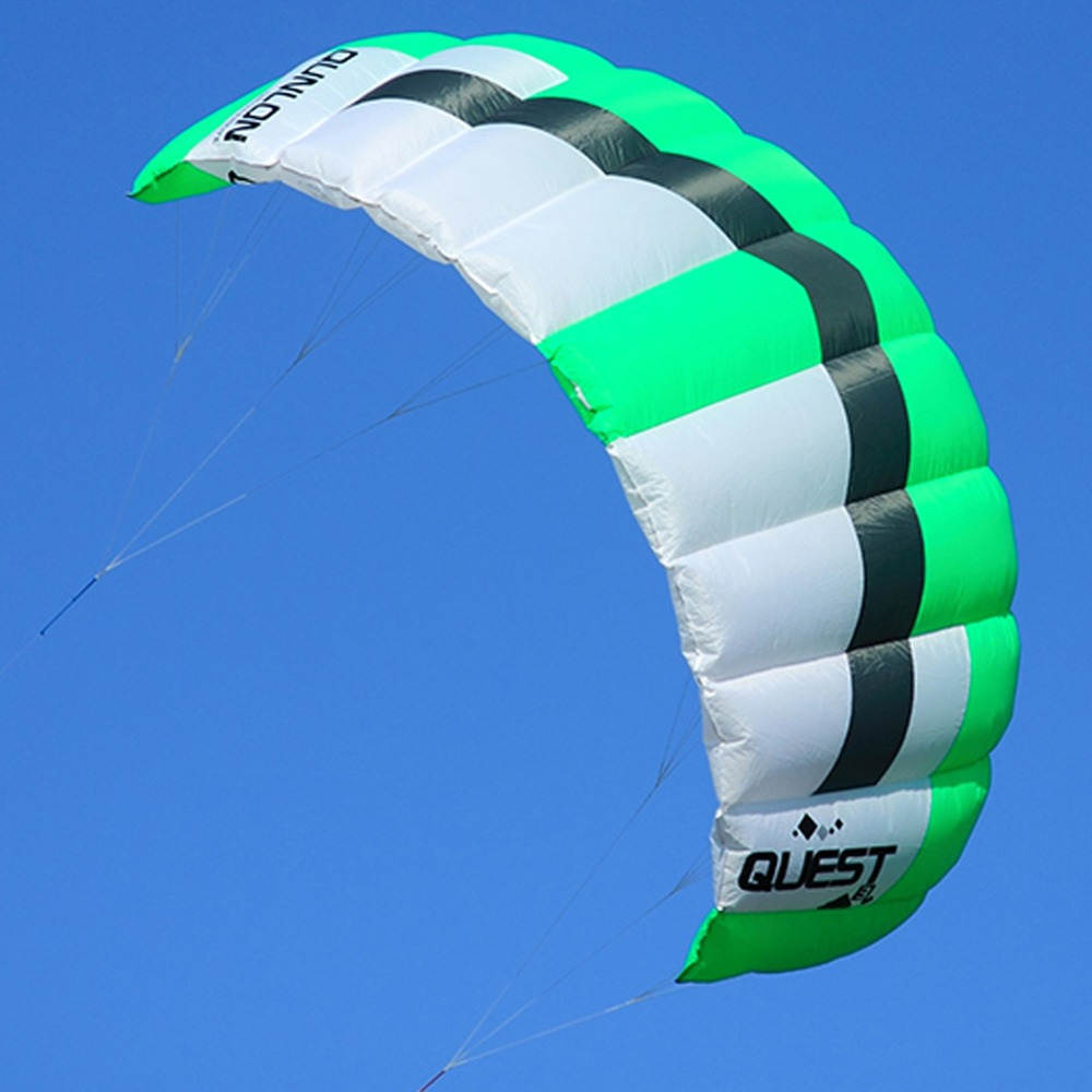 Green 3 Sqm Outdoor Sport Stunt Kite Dual Line Traction Power Kite Parafoil Kiteboarding Trainer Kite For Beginner 16 colors x vented outdoor playing quad line stunt kite 4 lines beach flying sport kite with 25m line 2pcs handles