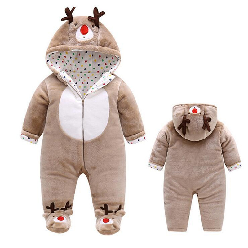 2017 Autumn and Winter Cotton Warm Cashmere Baby Rompers Bebe Elk Cartoon Jumpsuit Newborn Outwear Clothes Baby Boy&Girl Clothes warm thicken baby rompers long sleeve organic cotton autumn