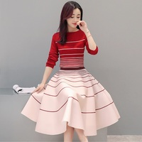 Women's A-line Spring Skirts 2017 New Two-piece Knitted Skirts New Korean High Waist Skirt Plus Size S-2XL Red Color A80588