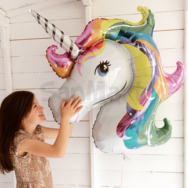 87 x 117cm Giant Unicorn Balloon Colorful Rainbow Fantasy Kuda Parti - Barang-barang untuk cuti dan pihak - Foto 3