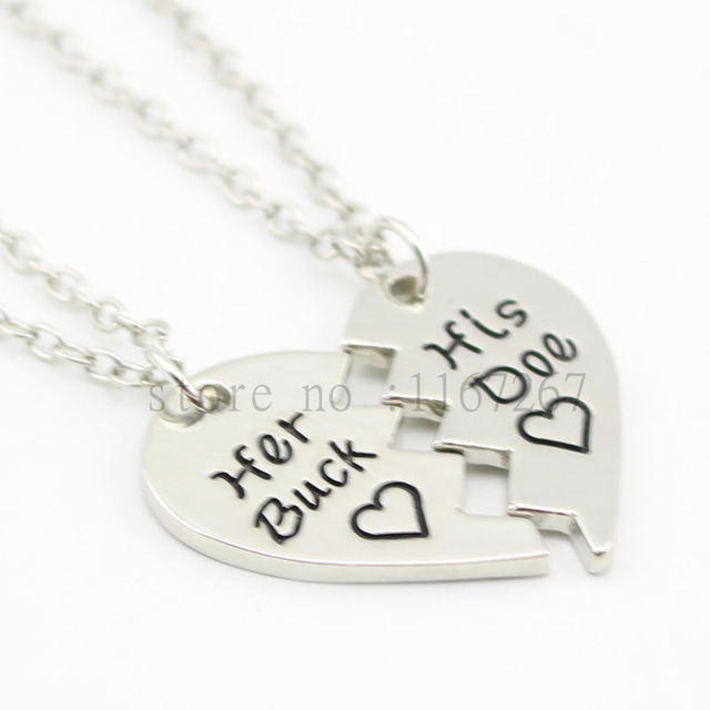 2016 New Arrive Broken Heart Necklacechain Her Buck His DoeJewelry Country Wedding Boyfriend
