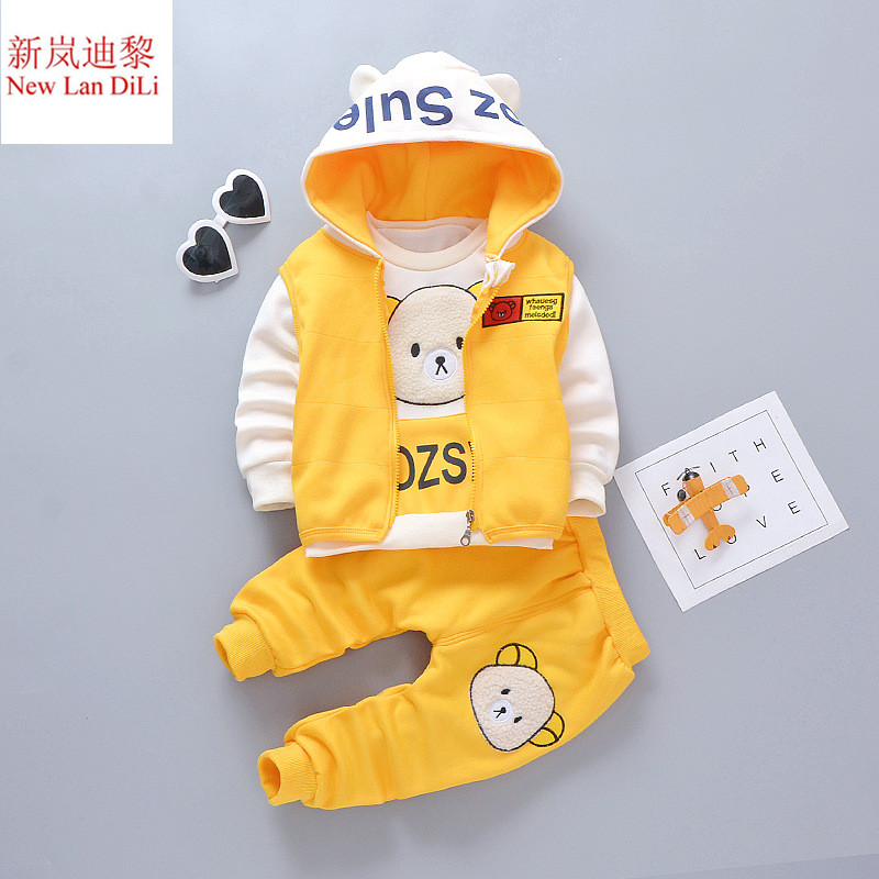Girls' Clothing new winter Girls' Baby Clothing Plus velvet three-piece sets Boys' Baby Clothing Vest + sweater + pants suits