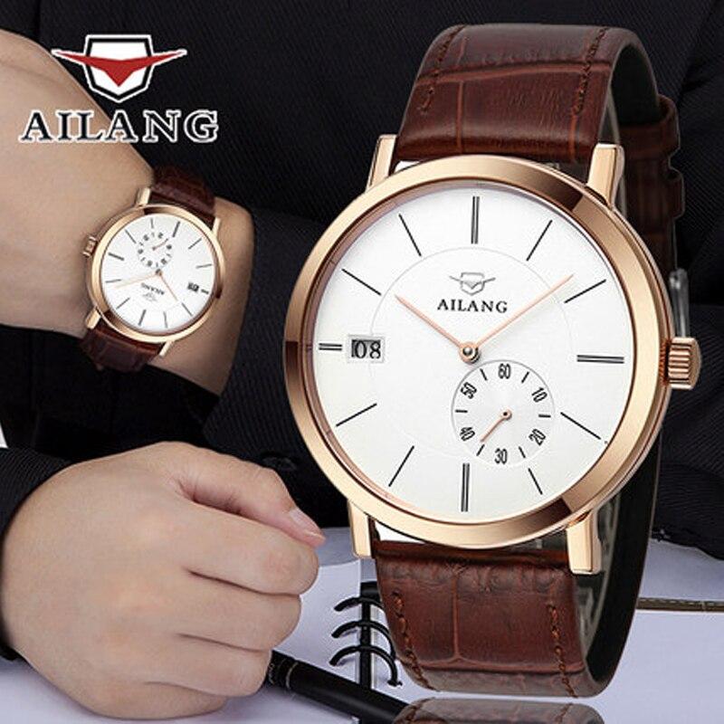 AILANG แบรนด์ผู้ชายธุรกิจ Deluxe Yingang mechanical 5 จุดขนาดเล็กวันที่ผู้ชายแฟชั่น casual นาฬิกา-ใน นาฬิกาข้อมือกลไก จาก นาฬิกาข้อมือ บน   1