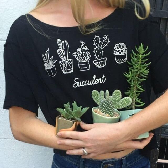 2017 New Arrivals T-shirt Women Pot Flower Printed Printing T shirt Women Tops Tee Shirt Femme Woman Free Shipping Top