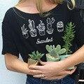2017 Nuevas Llegadas Mujeres de La Camiseta Olla Flor Impreso Impresión de la camiseta Mujeres Tops Camiseta Femme Mujer Superior Del Envío Libre
