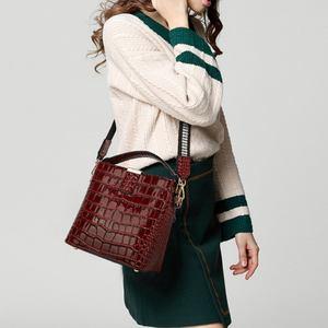 Image 2 - Diinovivo retro jacaré padrão balde bolsa feminina sacos de couro patente para as mulheres bolsa pequena bolsa de ombro carteira whdv1157