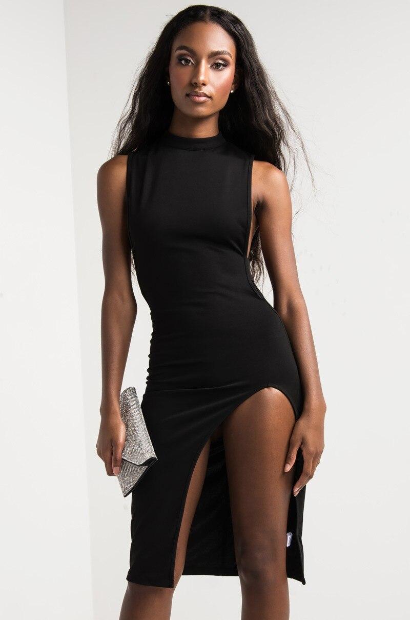 Féminine Robe Manches Out Partie Crayon Sexy Clubwear Club Moulante Dames Fit Midi Robes Split Sans De Femmes w8Eq11