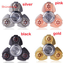 SHINEHENG Metal Tri Spinner CKF Fidget Gyro for Autism and ADHD Rotation Anti Stress Wheel Toys Stres Spiner Song Stress Cube