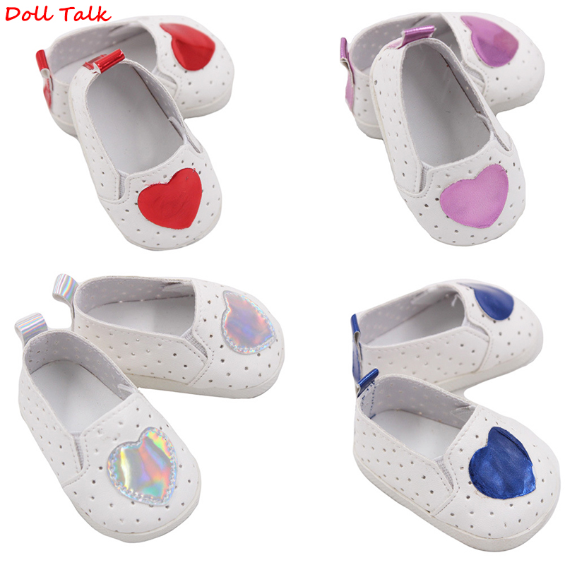 Doll Talk 7cm Mini Doll Shoes White Sports Boots For 43 Cm Toy New Born Doll Love Heart Pattern American Doll Accessories Shoes