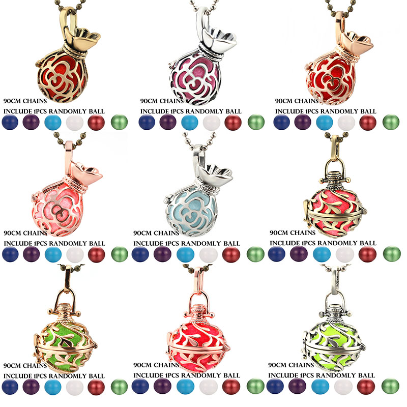 New Mexico Chime Lucky Bag Vintage Locket Necklace Music Ball Pregnancy Necklace For Aromatherapy Essential Oil Pregnant Jewelry