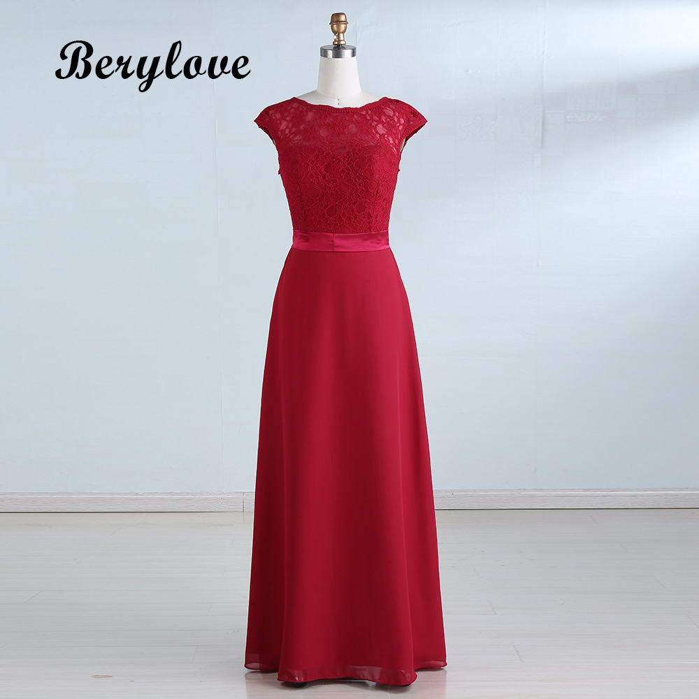 BeryLove Dark Red Prom Dresses 2018 Simple Prom Gowns With Sleeves ...