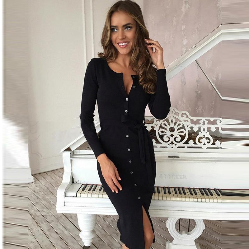 2018 Hot Sale Long-sleeved Hip Long Sexy Dress Solid Color Single-breasted Imitation Imitation cotton