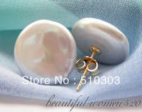 AAA Huge 15mm Gray Coin Freshwater PEARL Stud Earring 14KT