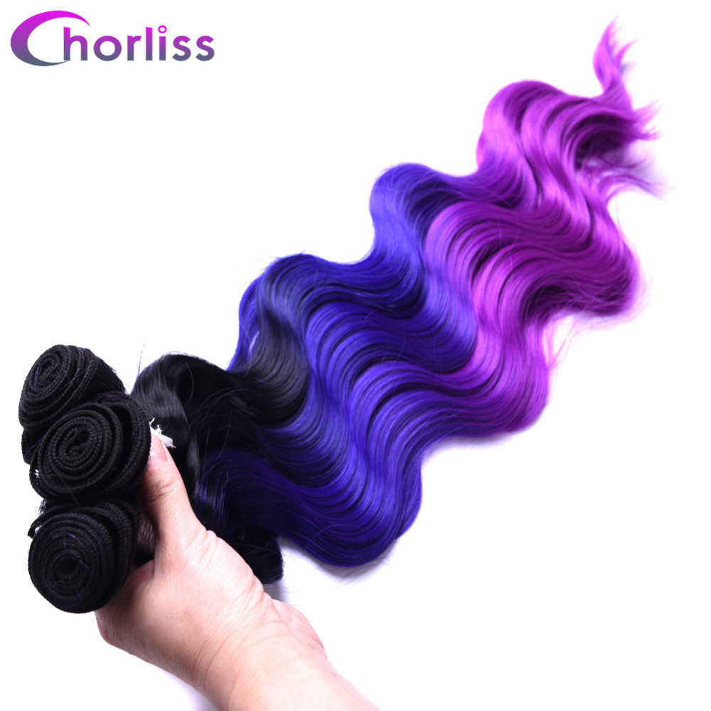 Chorliss 4pcs/lot Body Wave Ombre Purple Red Synthetic Hair Weaves 18