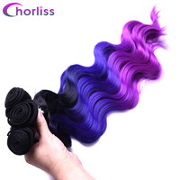 Chorliss 4pcs Lot Body Wave Ombre Purple Red Synthetic Hair Weaves 18 20 22 With Closure