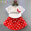 New Summer Girls Toddler Clothes Sweet Dot Bow Children Clothing Short Sleeve T-shirt+Skirt Two-Piece Baby Suits 0-7Years BC1397