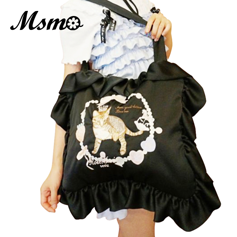 MSMO 2017 Japan Lolita Bags Harajuku Pillow Bag Ladies Embroidery Cat Shoulder Bag Cute Women's Square bag юбка arw amo amavel fint ank axes april cat lolita sk