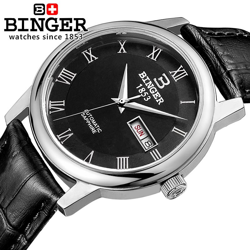 Switzerland watches men luxury brand Wristwatches BINGER business Automatic self-wind leather strap Water Resistance B653G-3