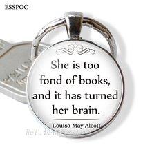 Брелок для ключей с надписью «she is too fond of books»