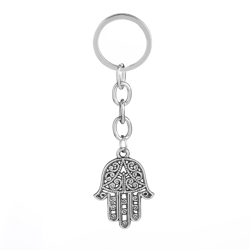 Muhammad Islam protect keychains women the Hand of Fatima key ring for children vintage hollow luck hand key chain bag ring gift