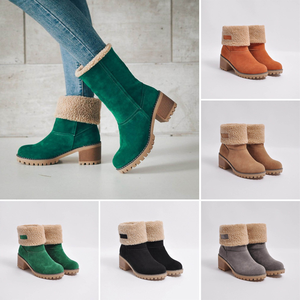Women's Boots Toe-Shoes Flock Round Warm Outdoor Winter Ladies Slip-On PU No T-