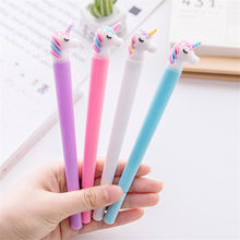 1pcs Cute girl candy color unicorn gel pen Cute soft pole pen Student writing test pen 0.5mm black refill(China)