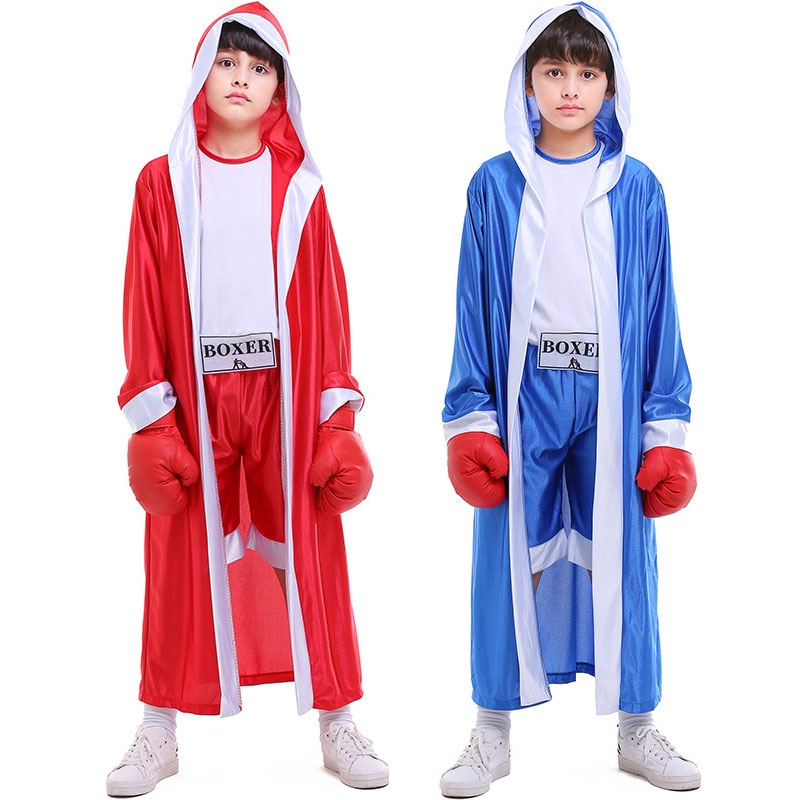 Disciplined Umorden Red Blue Kids Child Deluxe Boxer Costume For Boys Boy Boxing Cosplay Halloween Party Carnival Costumes