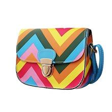 Fashion Women Bag PU Leather Rainbow Chain Of Small Messenger Bags High Quality Crossbody Free Shipping
