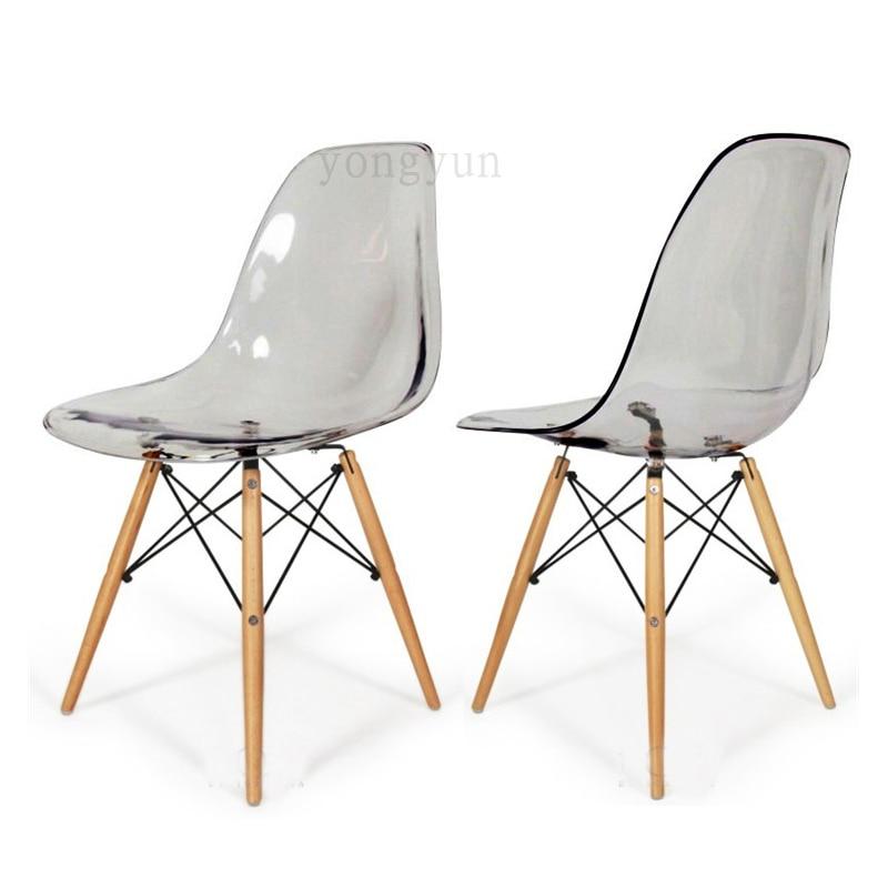 Acrylique Transparent En Plastique Chaise Caf Loisirs Moderne Bois De Couleur Restaurant Stoel Manger Dans Chaises Table
