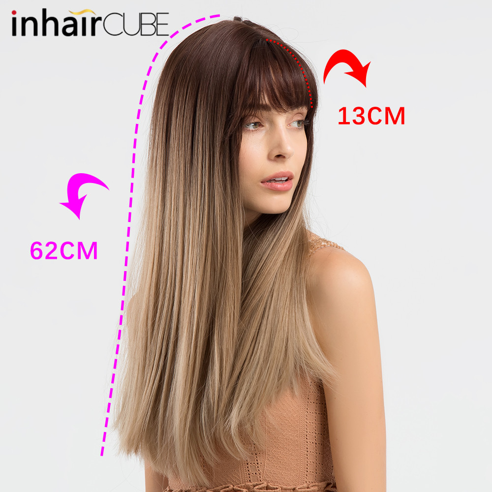 Inhair Cube Middle Part 22 Inches Ombre Long Wavy Heat Resistant Synthetic Kinky Simulation Scalp Cosplay For Women Hair Extensions & Wigs Synthetic Wigs
