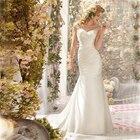 Save 38.61 on Romantic ELegant Cheap Lace Mermaid Wedding Dresses 2017 Sheer Sequins Appliques Vestidos de novia de renda With Buttons Pleats